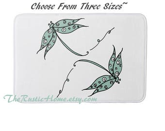Dragonfly bath mat kitchen mat memory foam rug choose your size and background color made to order dragonflies rustic home decor custom mats