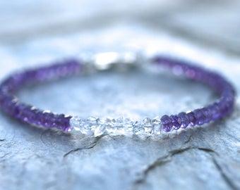Purple Amethyst Bracelet, Herkimer Diamonds, February Birthstone Bracelet, Amethyst Jewelry, Herkimer Crystal Jewelry, Petite Bracelet