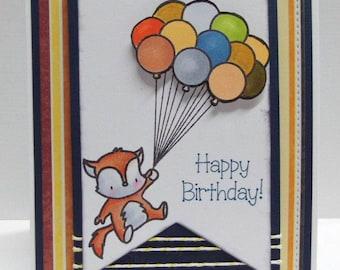 Fox birthday card blank