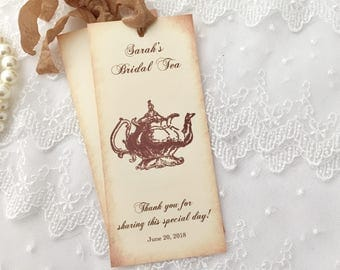 Tea Party Favor Bookmarks, Bridal Shower Tea Party Bookmarks, Set of 10