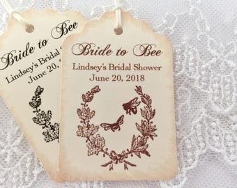 Bride to Bee Tags, Bridal Shower Honey Favor Tags, Set of 10