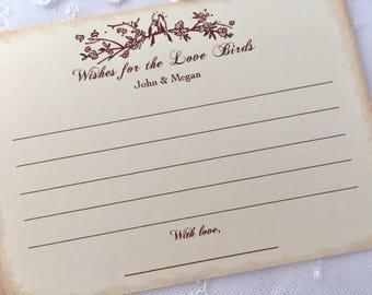 Love Bird Wish Cards, Wedding Wish Cards, Bird Wish Cards, Set of 10