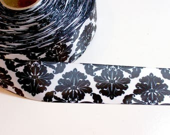Black and White Ribbon, Flower Single-Faced Satin Ribbon 1 1/2 inches wide x 10 yards, SECOND QUALITY FLAWED