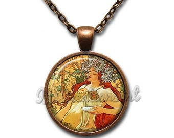 25% OFF - Mucha's Painting Autumn Glass Pendant Necklace Square Round AP158