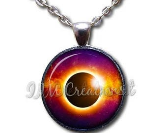 20% OFF - Total Eclipse Color Glass Dome Pendant or with Chain Link Necklace SM301