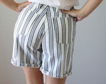 vintage. high waisted. cotton denim shorts. striped. blue and green. white . small. Skoozi