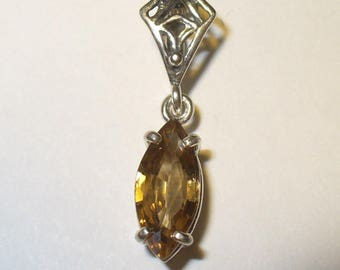 Natural Golden Zircon Dangle Pendant - 2.4 Carat Genuine Gem in Sterling Silver