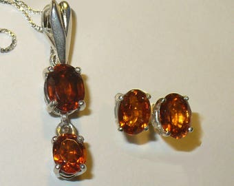 Orange Garnet Pendant & Earrings - Bright, Sparkling Genuine Natural Hessonite Gemstones in Solid Sterling Silver