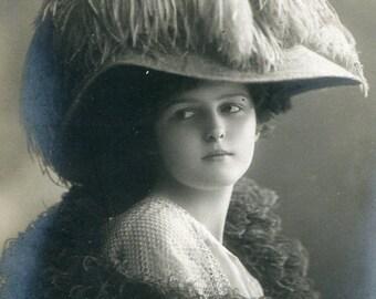 Vintage French Lady RPPC postcard -  VC008