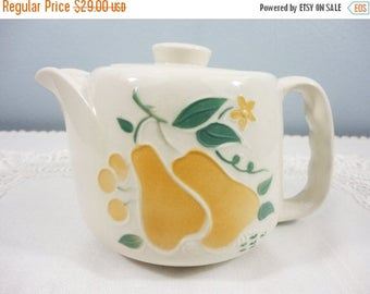 CLEARANCE SALE - Vintage Porcelier Pear Teapot - Pears and Green Leaves