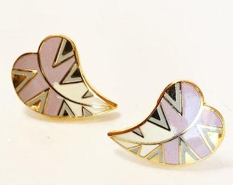 Laurel Burch Petite Petals Heart or Leaf Pierced Enameled Earrings Vintage