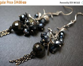 SUMMER SALE 25% OFF - Jet Black Pretty Branch Simple and Elegant Hand Wrapped Vintage Flower Cluster Swarovski Earrings - 1 pair
