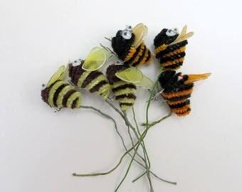 Vintage Chenille Bee Pick Lot of 6 / Vintage Bee Craft Supply/ Google Eyes
