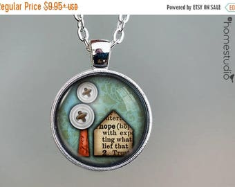 ON SALE - Little House : Glass Dome Necklace, Pendant or Keychain Key Ring. Gift Present metal round art photo jewelry by HomeStudio
