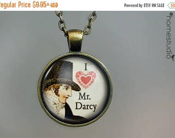 ON SALE - Mr. Darcy : Glass Dome Necklace, Pendant or Keychain Key Ring. Gift Present metal round art photo jewelry by HomeStudio