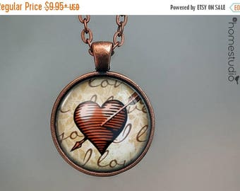ON SALE - Antique Heart : Glass Dome Necklace, Pendant or Keychain Key Ring. Gift Present metal round art photo jewelry by HomeStudio valent