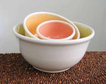 Pottery Nesting Bowls - Wedding Gift - Handmade Stoneware Pottery Prep Bowl Set Warm Tones