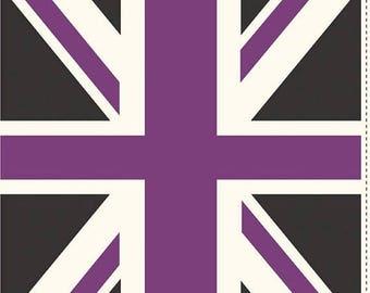 10EXTRA 50% OFF Riley blake Union Jack  Purple - Panel
