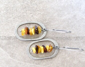 amber earrings, silver and amber, modern drop earrings, boho metalwork earrings, yellow amber, hammered silver