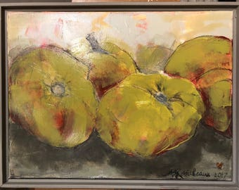"Green tomato crop 12"" x 16"" framed"