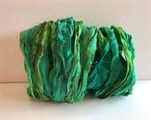 Silk Sari Ribbon-Undyed Green Mix Sari Ribbon-10 Yards
