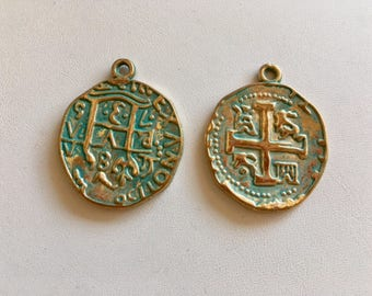 Spanish Coin Charms-Coin Replica With Patina Finish