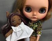 Tiny Deer Fawn Rag Doll for Your or Your Dolls, Forest animal art doll for Blythe and BJD, miniature cloth doll African American white dress