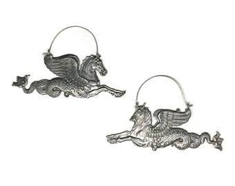 Sea Monster Earrings | Sterling Silver Earrings | Statement Earrings | Fantasy Animals | Hippocampus