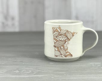 Handmade porcelain pottery mug - Made in Minnesota - White glazed MN state mug with leafy pattern, gift from MN, Minnesota gift, Handmade MN