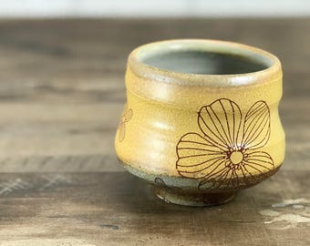 Soda fired yunomi. Handmade ceramic tea bowl. Floral cup. Wine cup. Handmade pottery cup. 6 ounce. Atmospheric firing. Yellow slip.