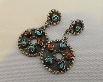 Vintage TR-135 Taxco Mexico Sterling Silver Turquoise Coral Earrings