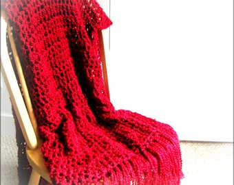 Throw Blanket Crocheted with Fringe- Lap Size Rich Red Blanket, Afghan, Home Decor, Bedroom, Red Accent Interior Decor MADE TO ORDER
