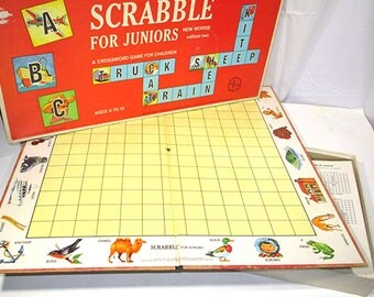 Vintage Scrabble for Juniors Board Game 1964 Selchow and Righter Co Retro Board Game