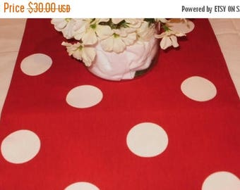 "ON SALE LARGE Polka Dot Table Runner -Choose Color -108"" extra-Large Polka Dot  Red, Fuchsia, Pink on Fuchsia or Black ,Mouse Theme Party"
