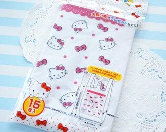 15 Plastic Baggies / Gift Bags (16cm31cm) Hello Kitty