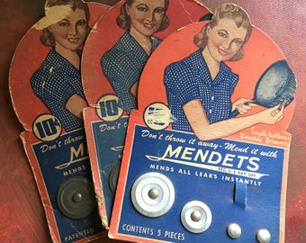 Mendets Vintage Pot Repair 3 Cards Great Graphics