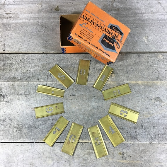 Vintage Reese's Adjustable Brass Number Stencils
