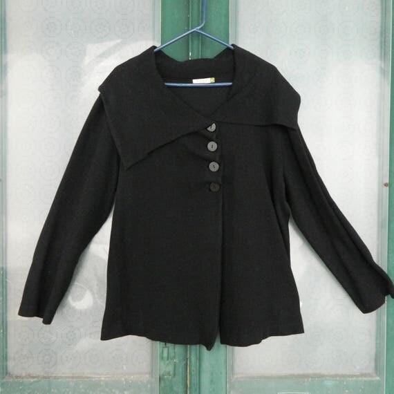 Chalet Cardigan Sweater -1X- Black 100% Cotton