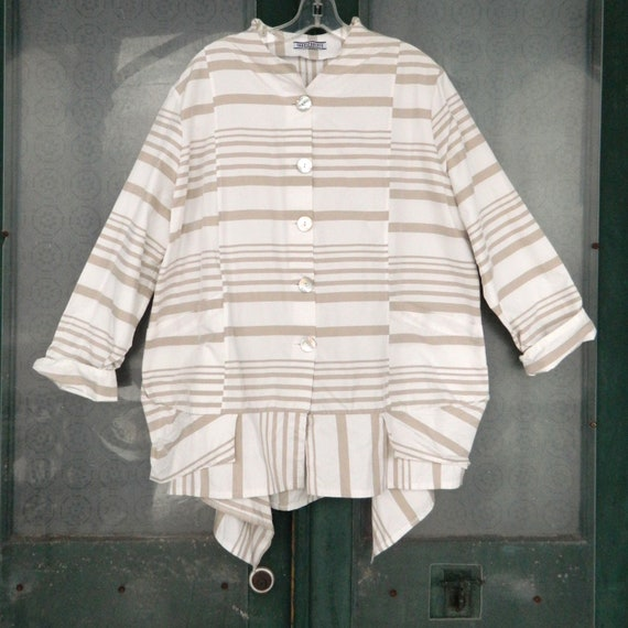 Transparente Striped Lagenlook Jacket -0S- White and Sand Polyester NWT
