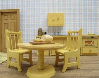 Vintage 1970s Dollhouse Miniature Wooden Painted YELLOW Mid Century 7 Piece Kitchen Set Country Farmhouse City Apartment