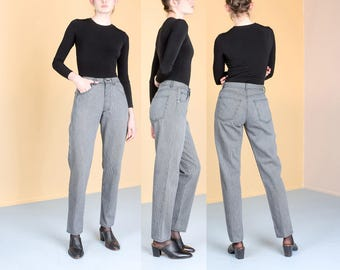 CALVIN KLEIN high waist STRIPE jeans mom denim 90s vintage black gray / Size 8 / 29 waist / better Stay together