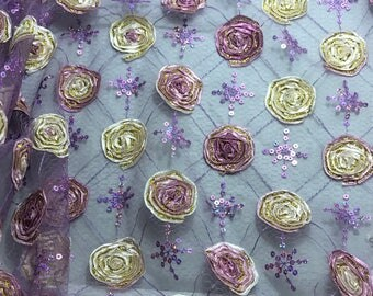 Purple Roses Ribbon Sequin Embroidered Tulle Fabric - 1/3 Yard