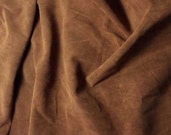 """TOFFEE BROWN Suede Lambskin Leather Hide Piece #4 7x8"""""""