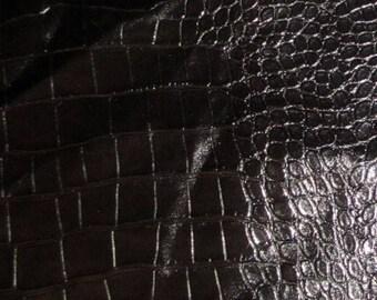 "Shiny Black Embossed GATOR Leather Hide #1 4x9"""