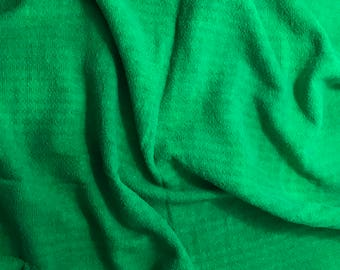 Bright Kelly Green - Hand Dyed Checkered Weave Silk Noil - 1 Yard