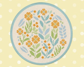 Pretty Spring Circle. Cute Flower Blossoms Orange Blue Green Modern Simple Colorful Counted Cross Stitch Pattern PDF Instant Download