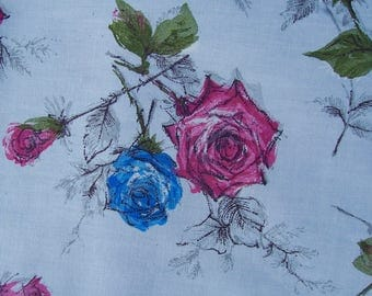 Vintage Cotton Fabric Roses 50s 36x 2 yds Blue Pink Green
