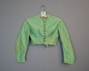 Victorian Bright Green Silk Bodice, 30 Bust, As Is Vintage Top, Great Buttons, Mid 1800s