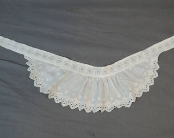 2 Embroidered Victorian Dress Trims, Antique 1800s Hand Embroidered Cotton Ruffles