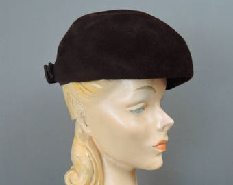 Vintage Brown Felt Hat, Rounded Top with Molded sides, fits 21 inch head, 1950s 1960s